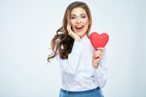 woman smiling heart