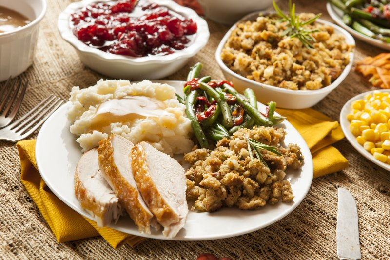 Closeup of plate filled with Thanksgiving foods